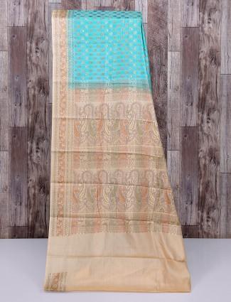 Aqua and beige semi silk saree