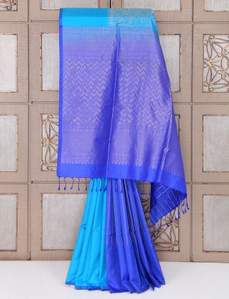 Aqua and blue color silk plain saree