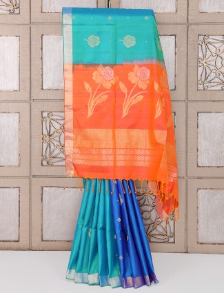 Aqua and blue color silk saree