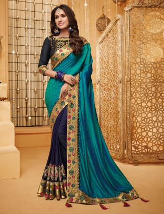 Aqua and blue half and half saree in jacquard satin