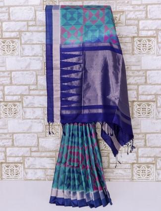 Aqua and blue patola silk saree