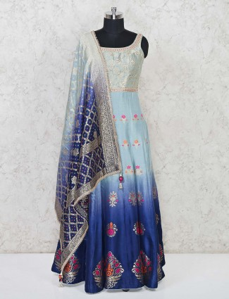 Aqua and blue shaded anarakali suit in banarasi silk