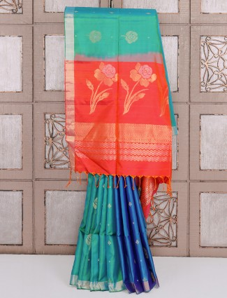 Aqua and blue silk fabric saree