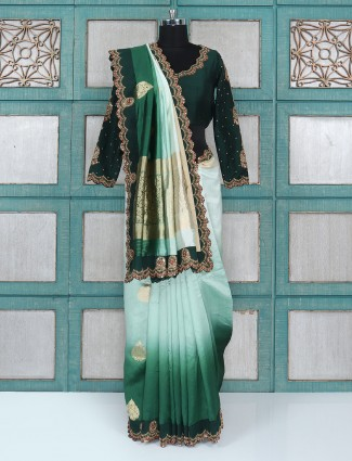 Aqua and green shaded silk fabric saree with ready made blouse