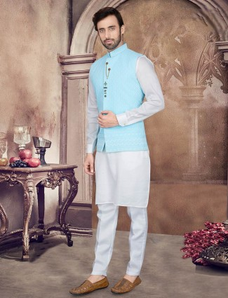 Aqua and grey cotton waistcoat set for mens