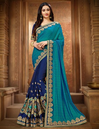 Aqua and navy blue pretty half and half vichitra silk saree