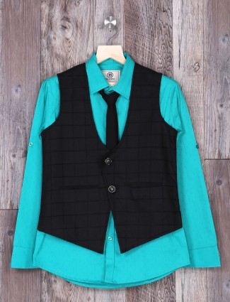 Aqua and navy color terry rayon waistcoat