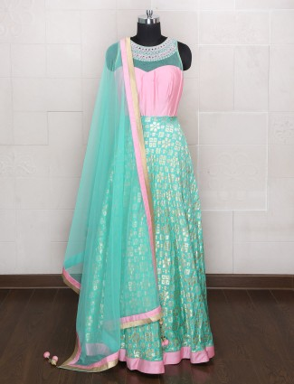 Aqua and pink silk anarkali suit