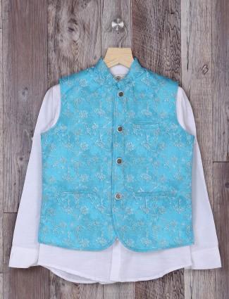 Aqua and white hue waistcoat for boys