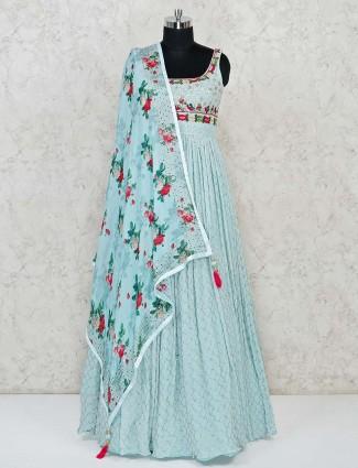 Aqua Blue Anarkali suit for wedding and festivals