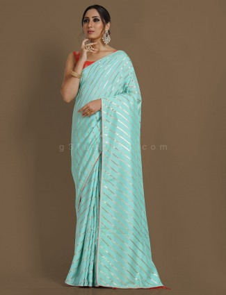 Aqua blue dola silk leheriya saree