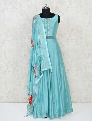 Aqua blue designer Anarkali salwar suit in raw silk