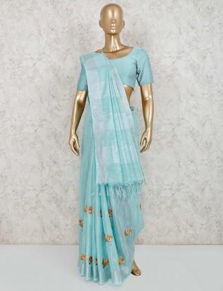 Aqua blue festive wear linen saree