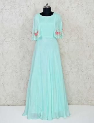 Aqua blue indo western style salwar suit in cotton silk