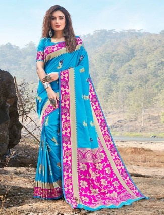 Aqua blue soft silk wedding saree