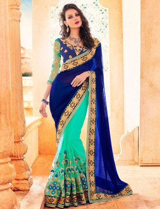 Aqua blue wedding wear georgette and net half and half saree