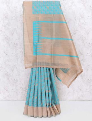 Aqua checks pattern cotton silk saree
