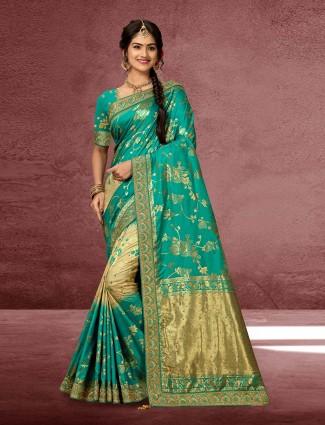 Aqua color banarasi silk wedding saree