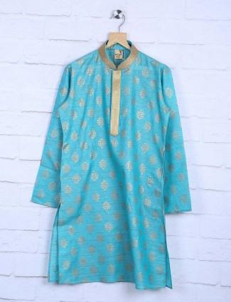 Aqua color boys cotton fabric kurta suit