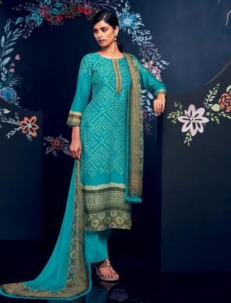 Aqua color chanderi silk dress material