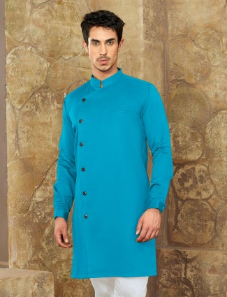 Aqua color cotton short pathani