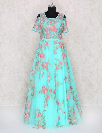 Aqua color designer gown