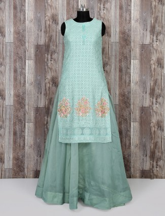 Aqua color festive wear salwar suit