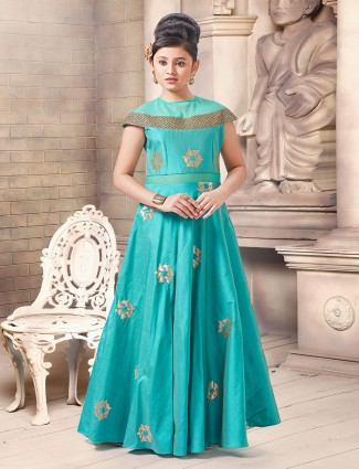 Aqua color floor lenght gown