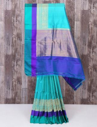 Aqua color reception wear saree