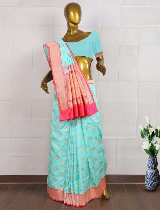 Aqua color saree in pure banarasi saree