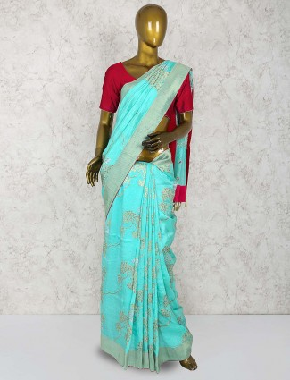 Aqua color sari in muga silk fabric