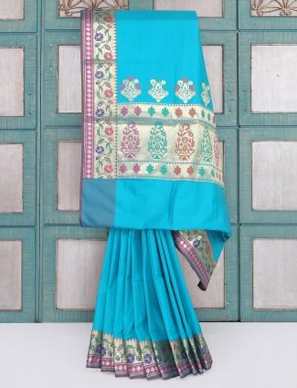 Aqua color semi silk saree for wedding