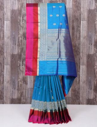 Aqua color silk saree for party wear