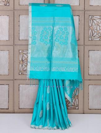 Aqua color simple silk saree