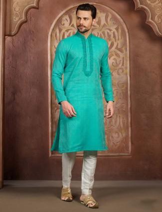 Aqua colored festive wear cotton silk kurta suit