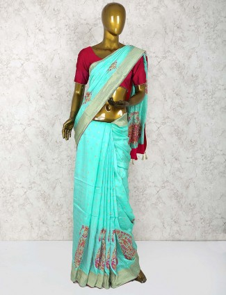 Aqua colored hue cotton silk festive sari