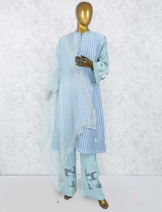 Aqua colored hue punjabi salwar suit in cotton