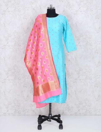 Aqua cotton fabric sharara suit