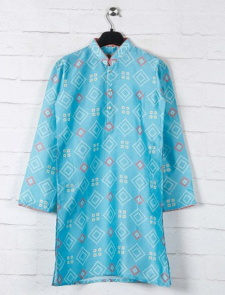 Aqua cotton kurta suit with bandhej print