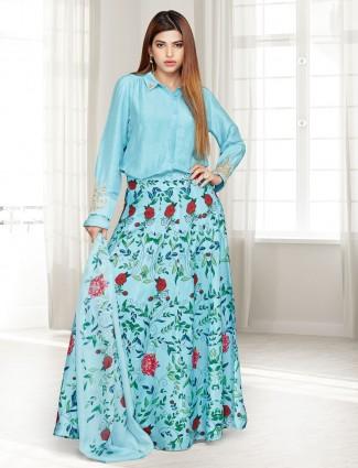 Aqua cotton silk designer printed lehenga suit