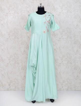 Aqua cotton silk festive wear long kurti