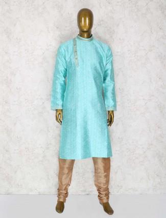 Aqua cotton silk kurta suit