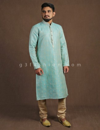 Aqua cotton silk kurta suit with churidar