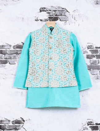 Aqua cotton silk waistcoat set