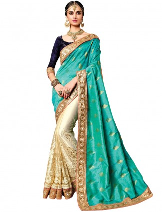 Aqua cream net silk half and half saree