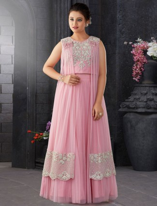 Pink designer girls lehenga choli in net