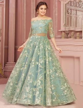 Aqua designer gown for wedding reception