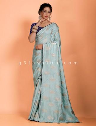 Aqua dola silk designer saree