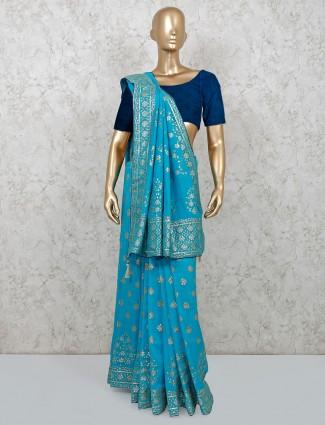 Aqua dola silk festive function saree