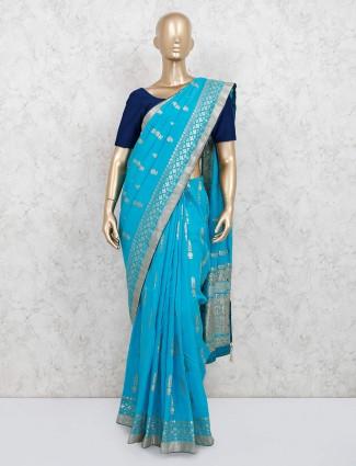 Aqua dola silk saree for festival